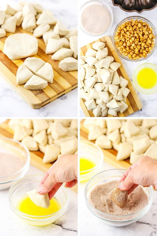 Coating Biscuit Dough in Cinnamon Sugar