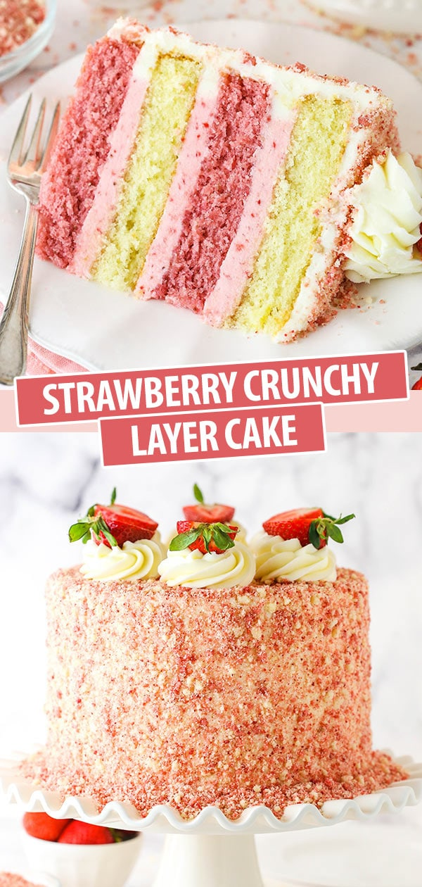 pinterest image for strawberry crunchy cake - a slice of cake and the full cake