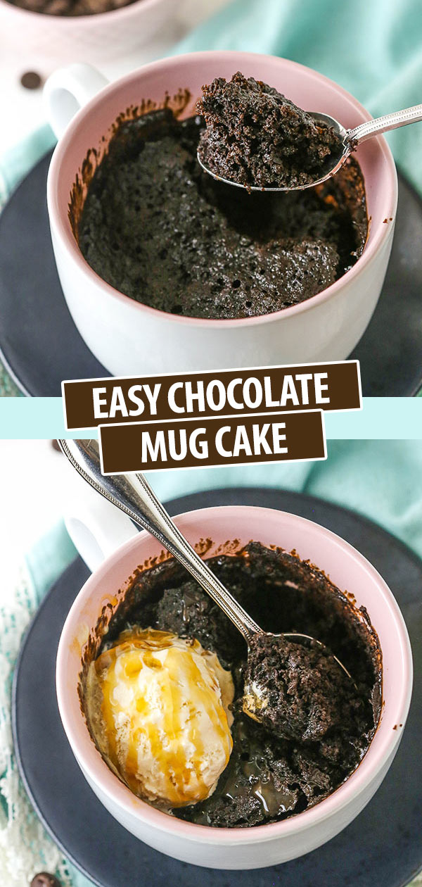 Pinterest image showing two photos of chocolate cake made in a mug