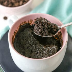 A Spoon Full of Rich Chocolate Cake Made in a Coffee Mug