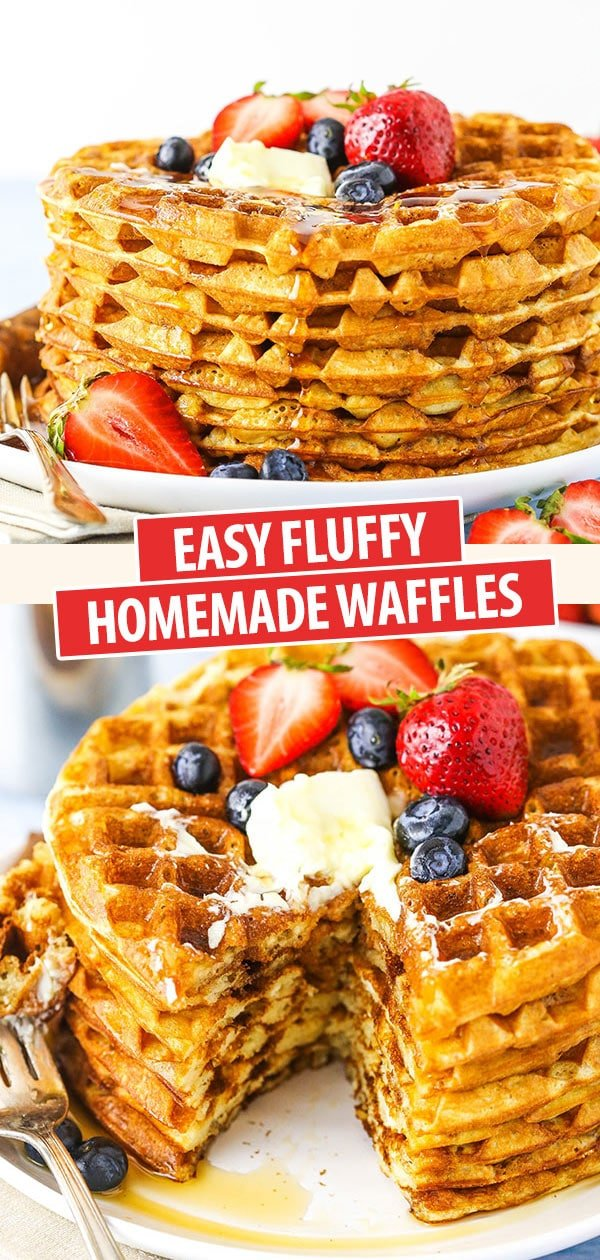 pinterest image of waffles - a stack and a stack with a bite cut out