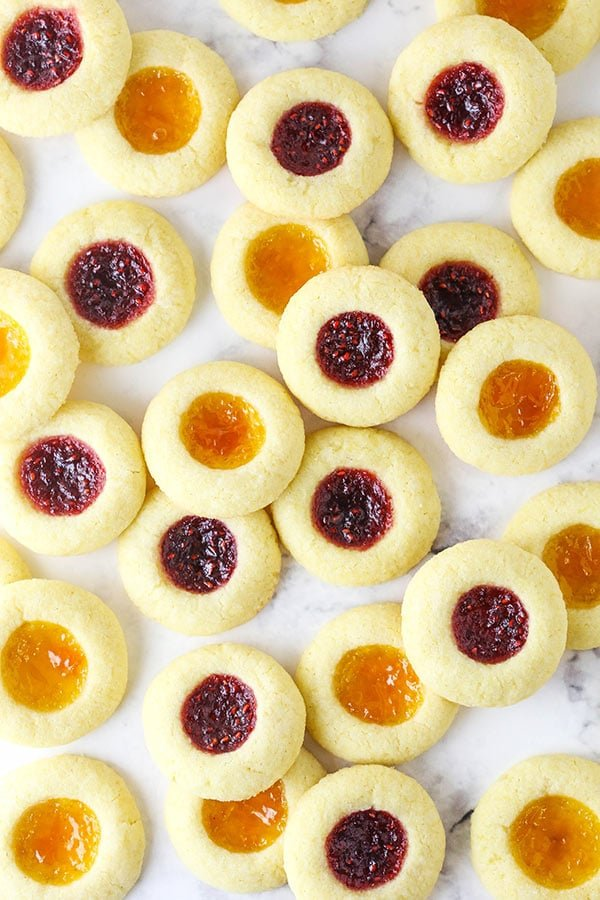 Jam-Filled Sugar Cookies on a Marble Counter