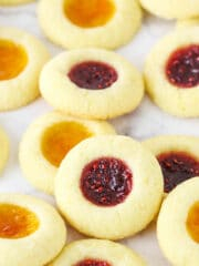 Thumbprint Cookies Filled with Apricot and Raspberry Jam