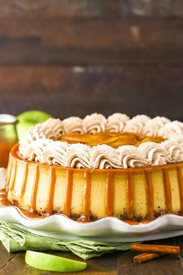 side image of full caramel apple blondie cheesecake