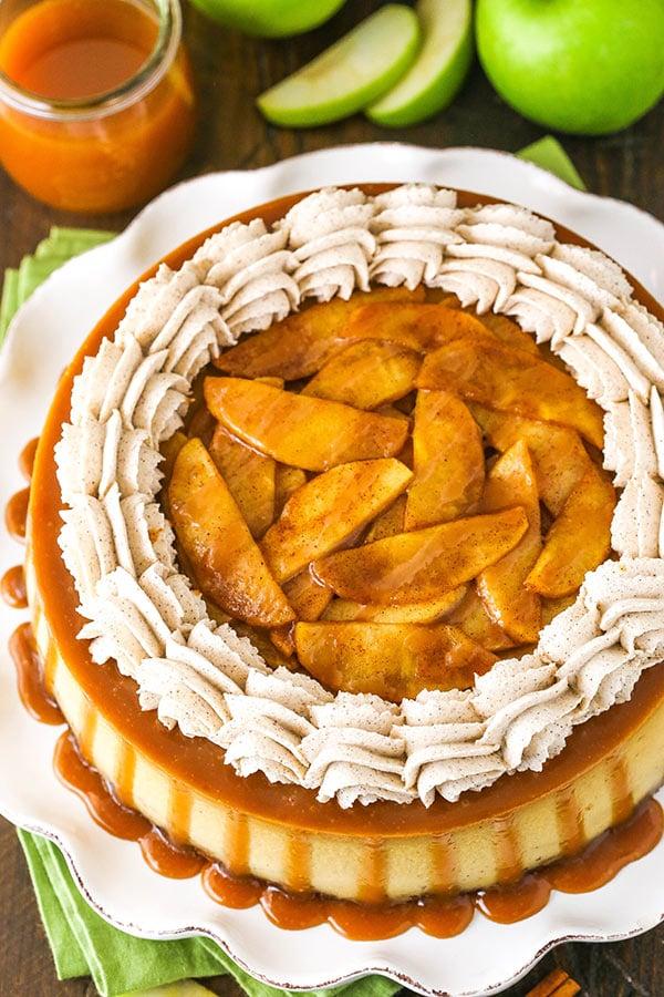 overhead image of full caramel apple blondie cheesecake
