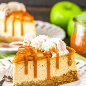 side image of slice of caramel apple blondie cheesecake