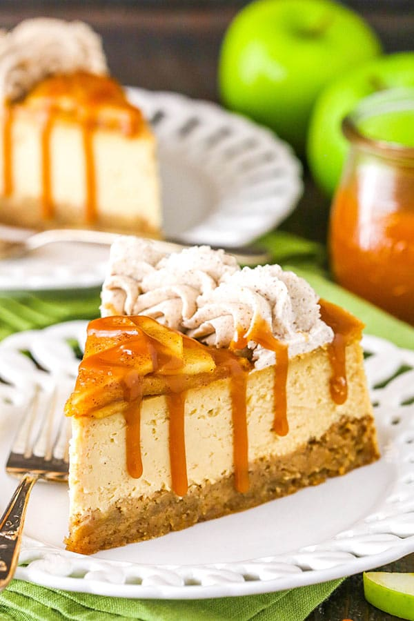 caramel apple blondie cheesecake slice on white plate