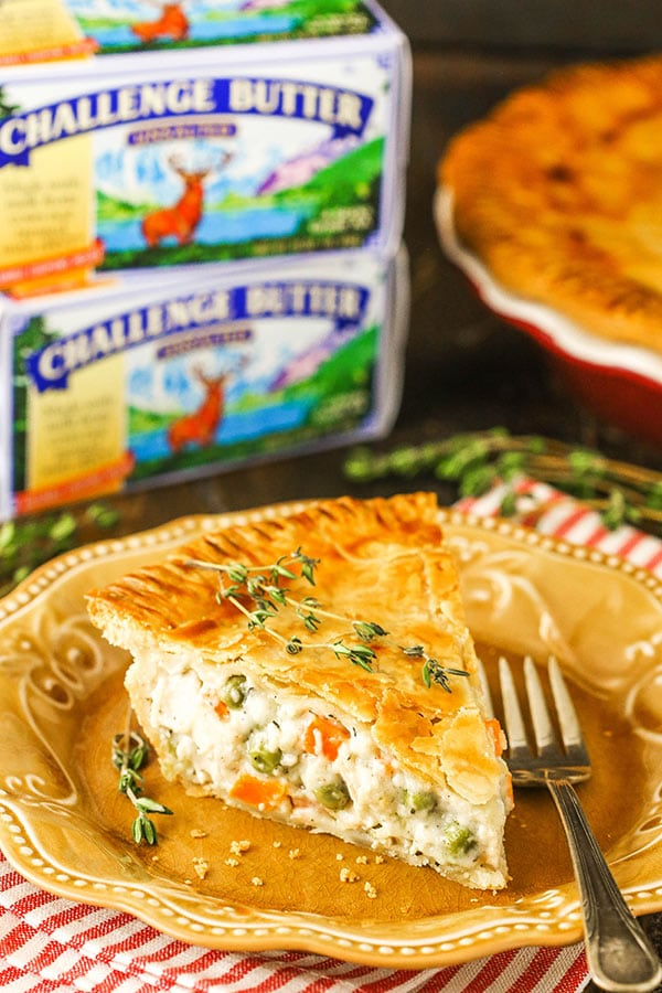 chicken pot pie slice with challenge butter packaging