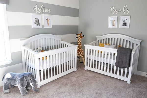 Ashton and Brooks' Cribs on Side-By-Side Walls in the Nursery