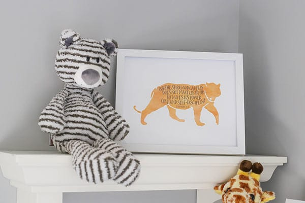 The Top Floating Shelf Displaying a White Tiger Stuffed Animal