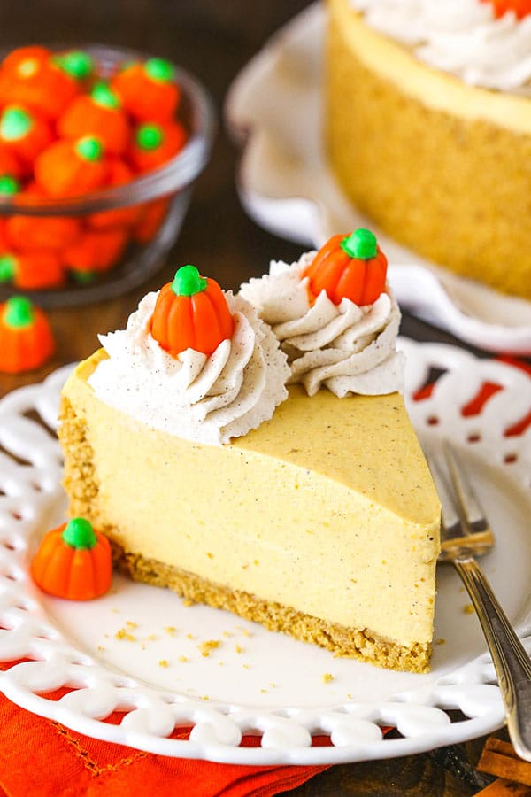 A Piece of No Bake Pumpkin Cheesecake on a White Plate with a Fork
