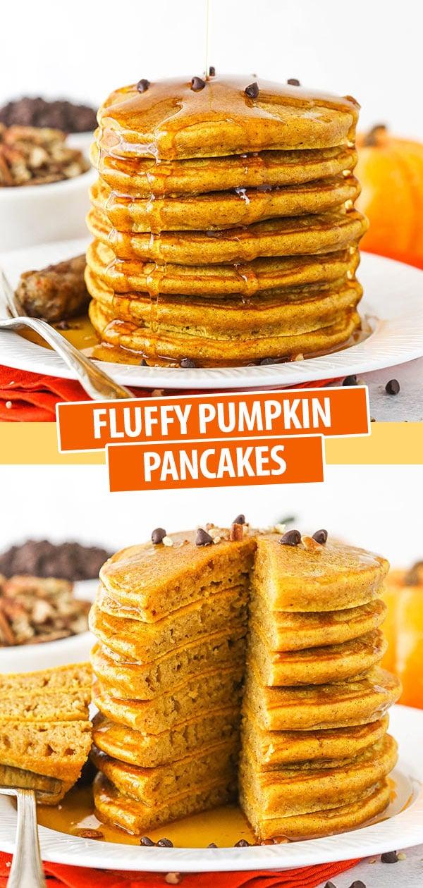 A Tall Stack of Homemade Pumpkin Pancakes