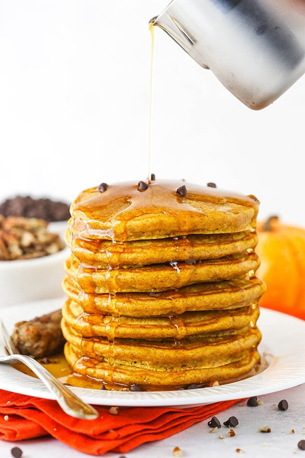 Pumpkin Spice Pancakes Topped with Mini Chocolate Chips