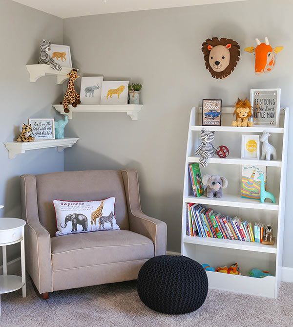 The Rocker, Shelves and Some of the Wall Decor in our Safari Animal Nursery