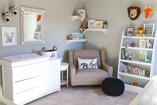 The Dresser, Rocker, Shelves and Decorations in Our Nursery