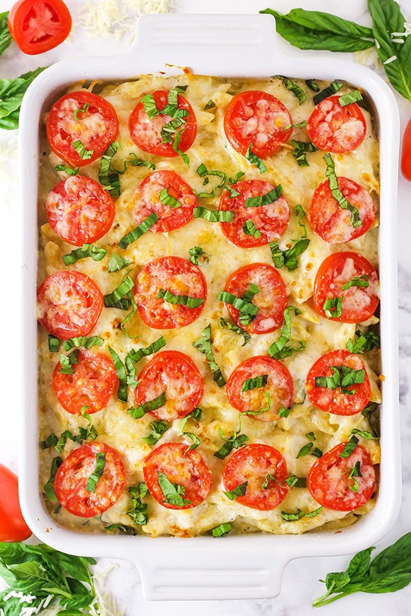 Full Tomato Basil Macaroni and Cheese overhead image