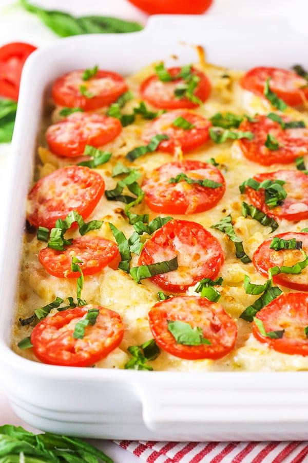 Tomato Basil Macaroni and Cheese in casserole dish