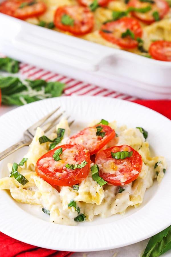 Tomato Basil Macaroni and Cheese on plate