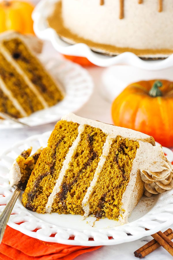 cinnamon sugar pumpkin layer cake with bite taken