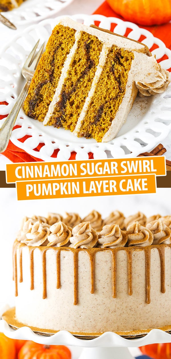 slice of cinnamon sugar pumpkin layer cake and full cake on cake stand