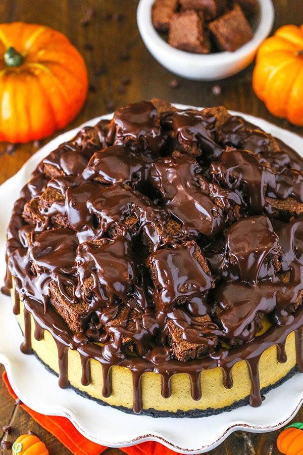 top of the chunkin chocolate pumpkin cheesecake