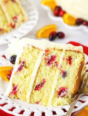 slice of cranberry orange layer cake