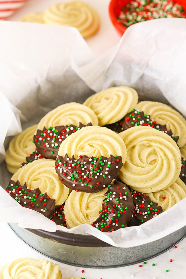 Chocolate Dipped Butter Cookies in a Metal Serving Dish