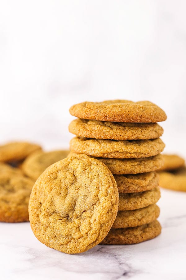 A Stack of Eight Molasses Cookies Plus Another One Leaning Against the Stack