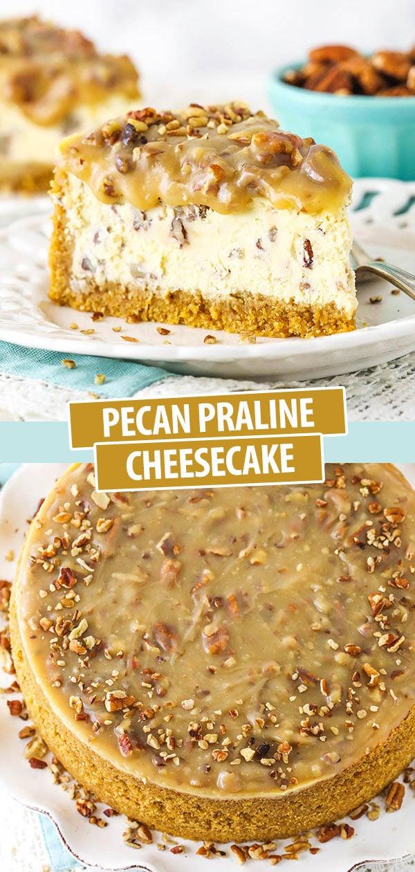 slice of pecan praline cheesecake and full cheesecake