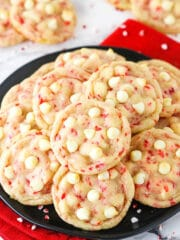 A Serving Plate Full of White Chocolate Peppermint Sugar Cookies