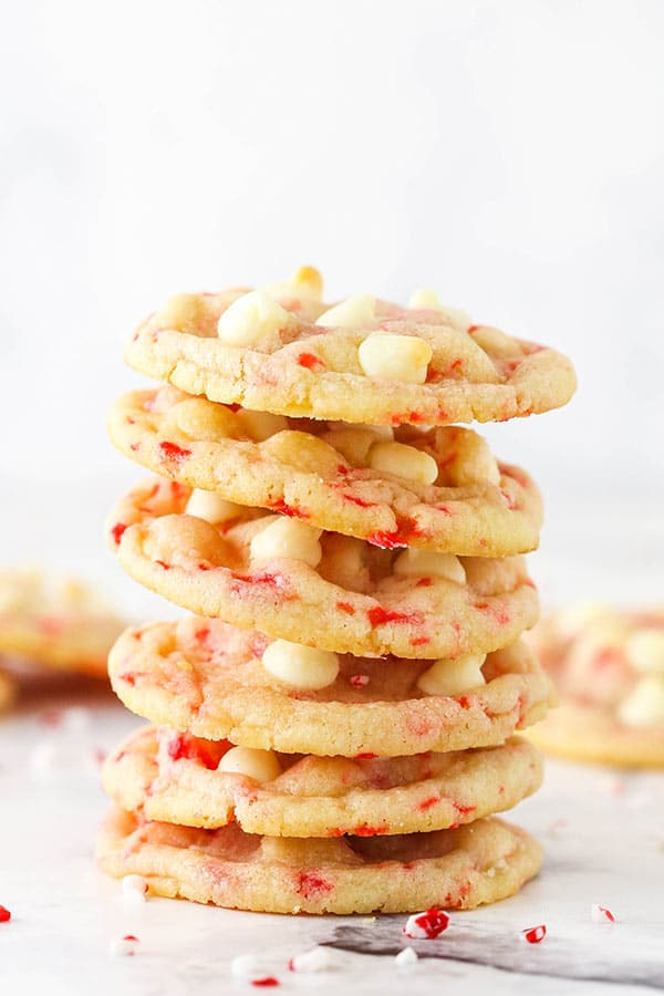 A Stack of Six Peppermint Sugar Cookies