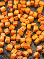 A Pan Full of Roasted Sweet Potatoes with Light Browning