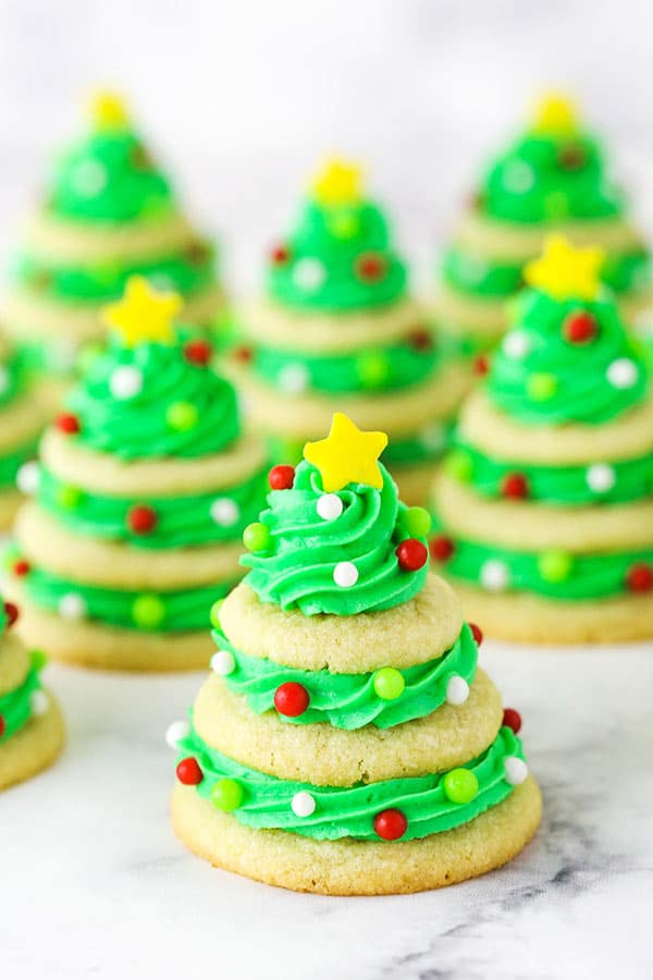 sugar cookie christmas trees in rows