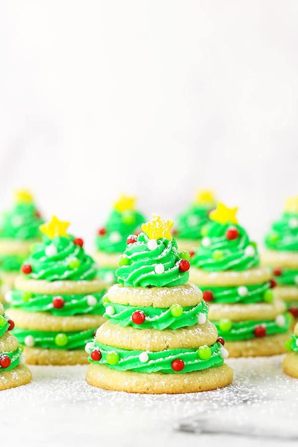 "sugar cookie christmas trees with powdered sugar ""snow"""