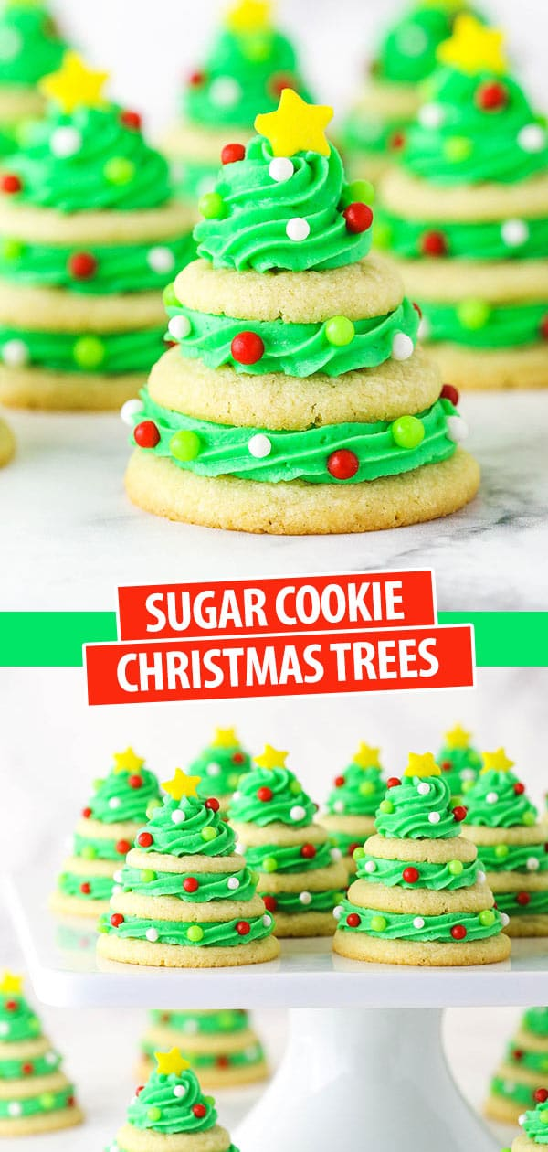 sugar cookie christmas trees on marble table and cake stand