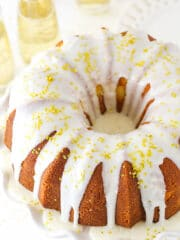 A Champagne Pound Cake Topped with Gold Sprinkles