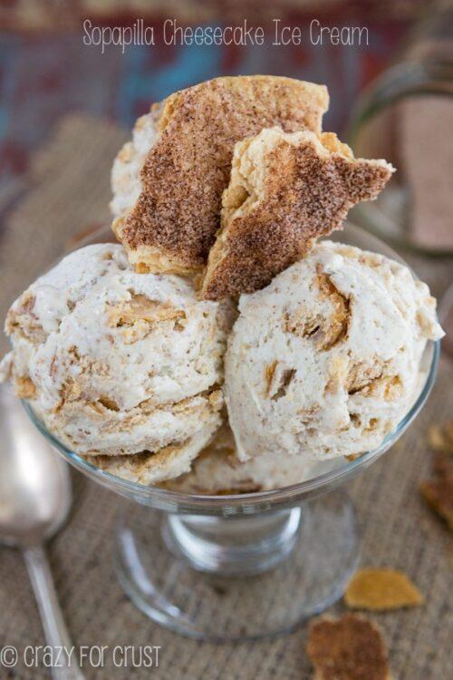 Three Scoops of Sopapilla Cheesecake Ice Cream in a Glass