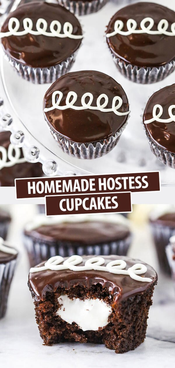 A Collage of Homemade Hostess Cupcakes Above a Cupcake That's Been Bitten in Half
