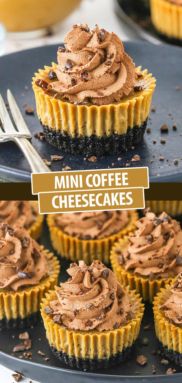 A Collage of Two Images of Mini Coffee Cheesecake Cups with Chocolate Whipped Cream Icing