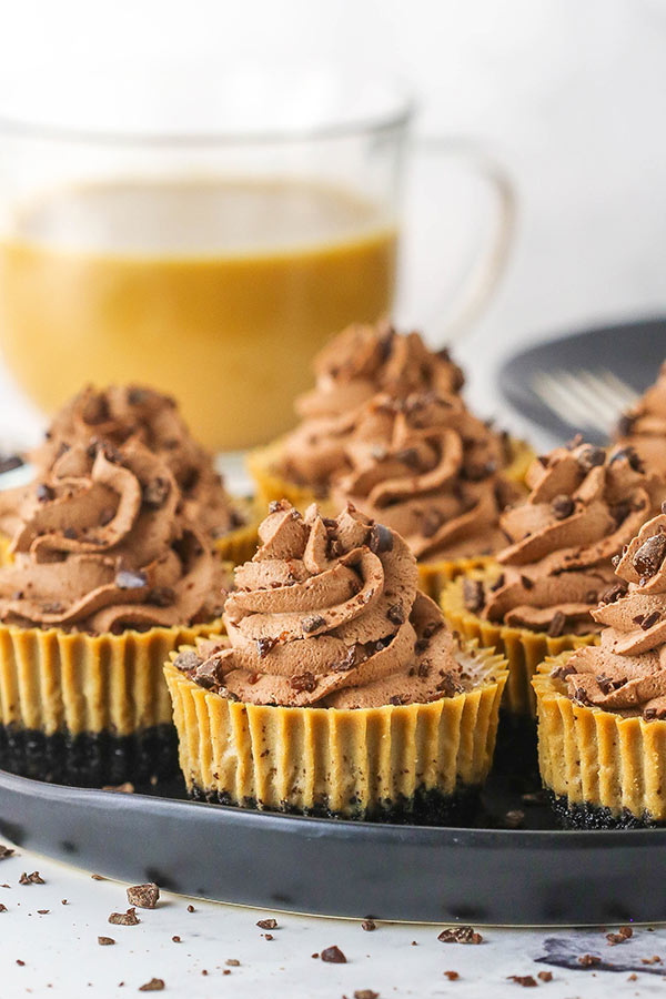 Eight Mini Coffee Cheesecakes on a Black Serving Tray