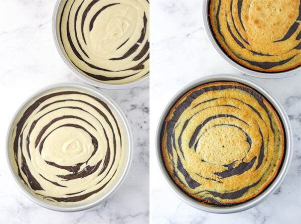 A Collage of the Vanilla and Chocolate Batter in the Cake Pans Before and After Baking