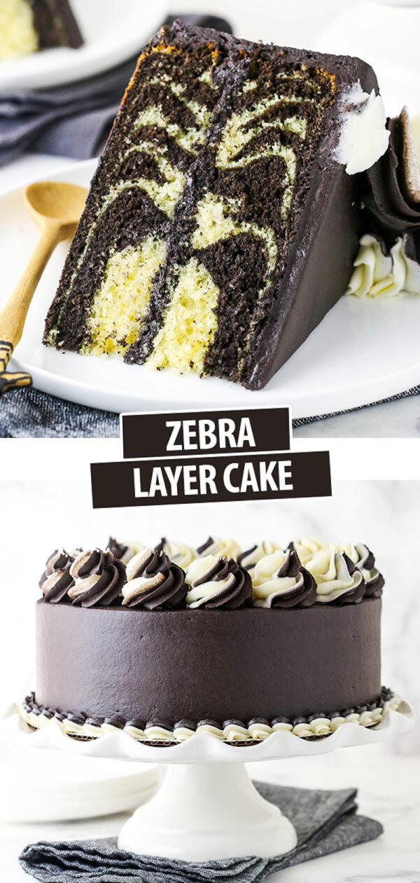 A Slice of Zebra Layer Cake Above the Entire Dessert on a Cake Stand