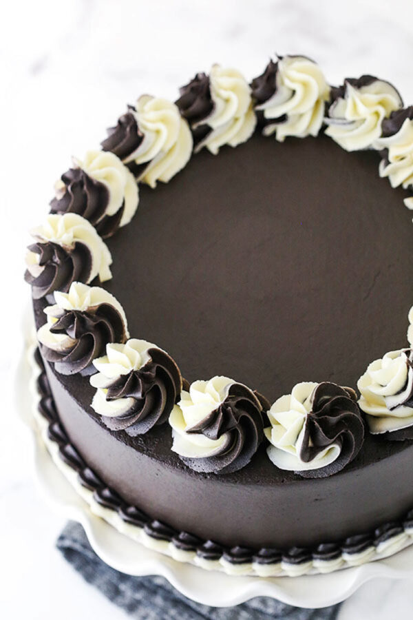 The Top View of a Frosted Chocolate and Vanilla Zebra Layer Cake