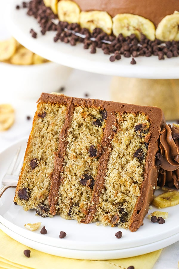 slice of banana chocolate chip cake on white plate