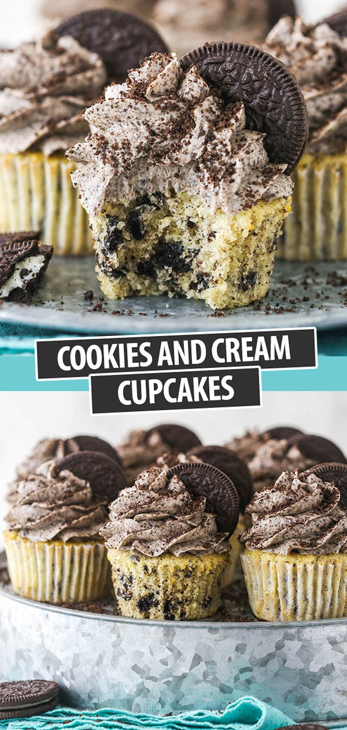 A Collage of Two Images of Freshly Made Oreo Cookies and Cream Cupcakes