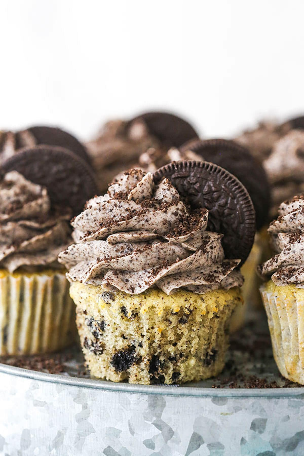 A Plate of Oreo Cupcakes Garnished with Half Oreos