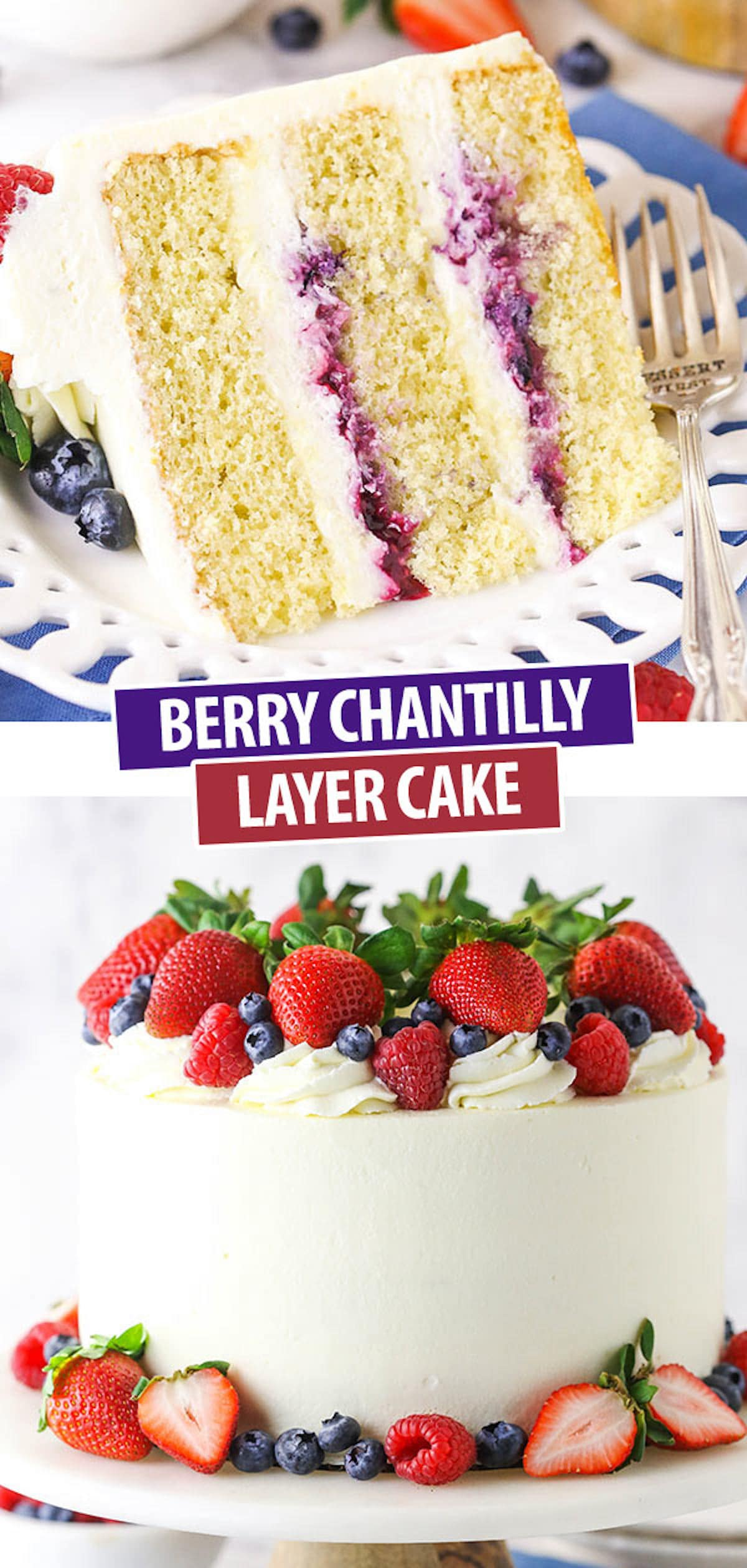 A Collage of Two Images of Berry Chantilly Cake Showing The Whole Cake Plus One Slice