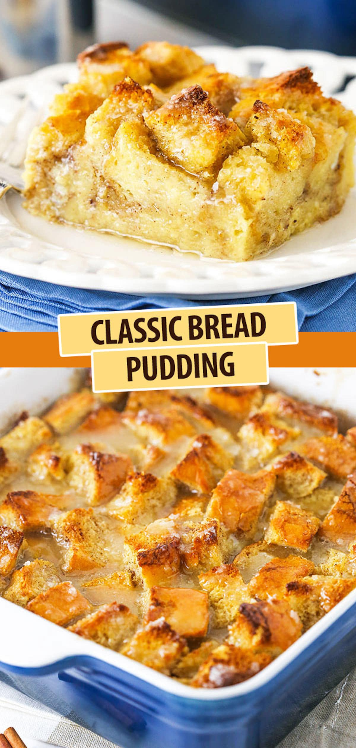A Slice of Bread Pudding on a Plate Over a Pan Full of Bread Pudding