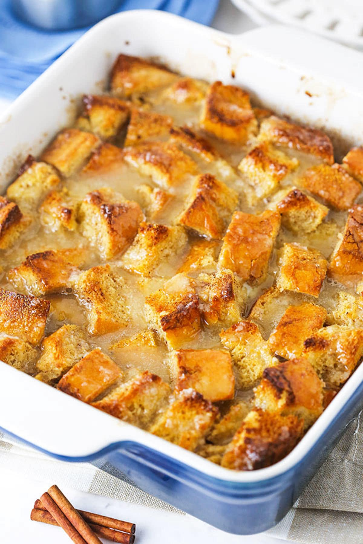 Homemade Bread Pudding in a White and Blue Pan