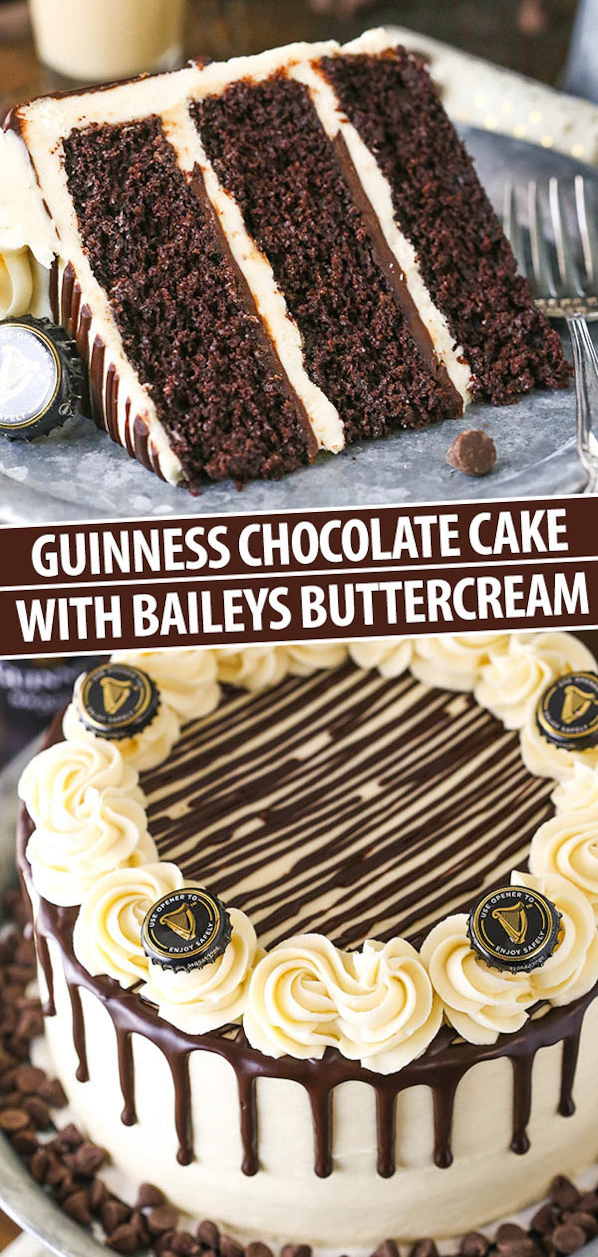 A Collage of Two Images of Guinness Cake Showing the Full Cake and a Single Slice